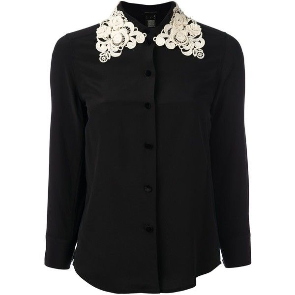 Marc Jacobs embroidered collar shirt ($615) ❤ liked on Polyvore featuring tops, black, three quarter sleeve shirts, curved hem shirt, shirt tops, 3/4 sleeve shirts and print top