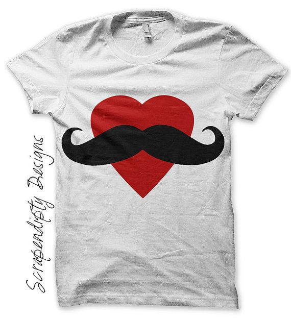 Girls Mustache Iron on Transfer  Heart by ScrapendipityDesigns, $2.50