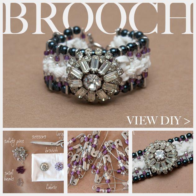 44 best diy bracelets images on pinterest diy bracelet bangle diy safety pin bracelet with brooch solutioingenieria Images
