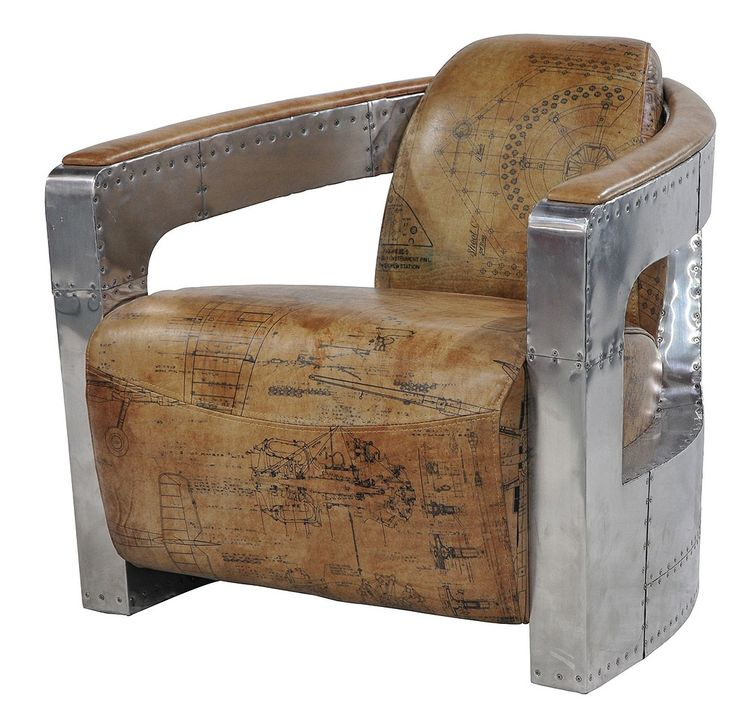 Sinclair Club Chair Spitfire Arms & Vintage Cigar leather with World War II fighter plane's blueprint