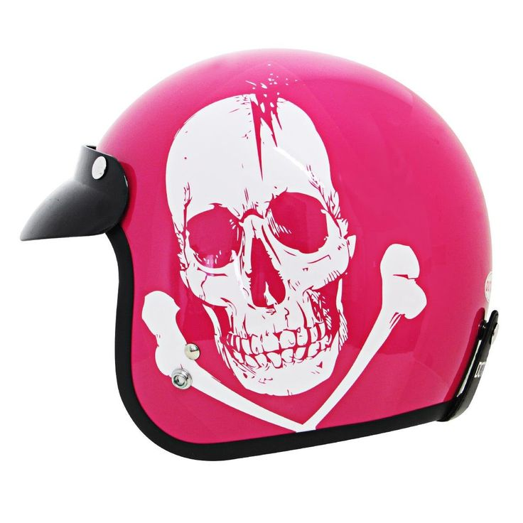 Outlaw Skull Pink Motorcycle Open Face Helmet - X-Small. Color: Gloss Pink. Injection molded ABS shell. Removable snap-off visor. Non-removable DOT graphics on the back. Removable check pads.