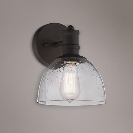 Clear Seedy Glass Shows Through To A Nostalgic Edison Bulb In This Vintage  Style Industrial Wall Sconce. Includes One 60 Watt Nostalgic Edison Style  Bulb.