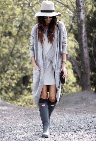 Langes Strickjacken-Outfit