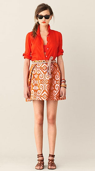 An ikat skirt with a bright blouse from the J.Crew 2011 Spring Collection