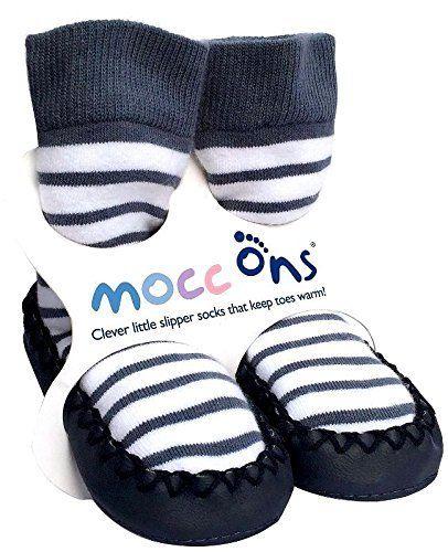 Rutschfreste Socken im Mokassin-Stil mit nautischen, bretonischen Streifen - http://on-line-kaufen.de/mocc-ons/rutschfreste-socken-im-mokassin-stil-mit