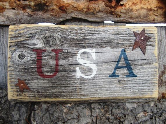 USA Sign Rusty Star Sign Patriotic Sign Made In Montana Weathered Distressed Sign Reclaimed Wood Sign Rustic Country Wall Decor OFG Team