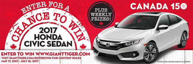 🚗 #GTCanadaProud #Canada150 #Contest  🎁 #Win a #free #HondaCivic Sedan LX ($20k ARV) & weekly #prizes!  👥Courtesy of #GiantTiger  🌍Open to legal residents of #Canada only who have reached the age of majority 📆Ends July 18th, #2017 at 11:59 PM EST  📝To enter, go to: http://woobox.com/48r8xc/iycthx  ⚠Enter each week to qualify for weekly prizes ✔Bonus entries available via #socialmedia sharing activities  🐯 #giveaway #gtboutique #gianttigercanada  🌐Posted by: @reviewzbyjewelz on…