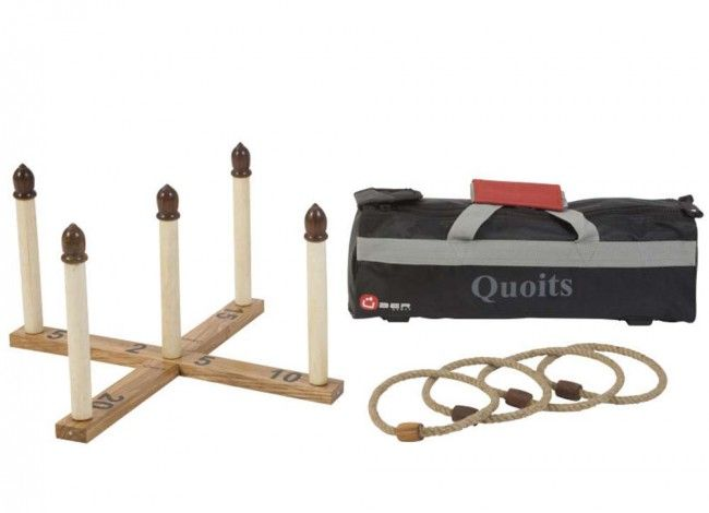 Quoits is a traditional lawn game of skill and accuracy, ideal for players of all ages.  This polished solid wooden Quoits Set includes; a wooden base with five (5) uprights, four (4) coir rope throwing hoops, and a canvas transport/storage bag.