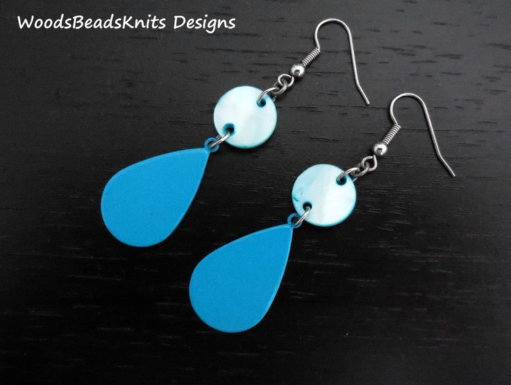 Geometric Earrings, Minimalist Earrings, Shell, Enameled Steel, Light Blue, Turquoise, Hypoallergenic Stainless Steel Hooks