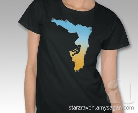 Mountain Climbing Silhouette Design T-Shirt