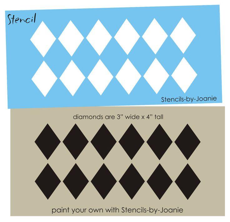 "4"" T Harlequin STENCIL Diamond Border Design Wall Art Shabby Cottage Rug Craft  #DesignsbyJoanie"