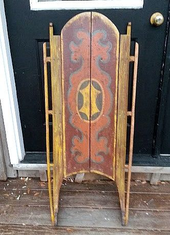 Antique canadian folk art painted snow wooden sleigh sled for Antique sled decoration