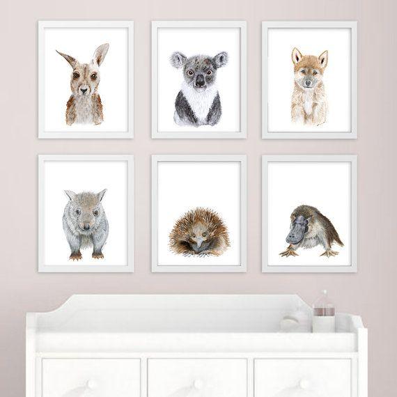 "I love this person's watercolour animals (she has a few different ones). ""Baby Animal Art - Australian Nursery Prints - Australian Animal - Print Set - Koala, Kangaroo, Platypus, Echidna, Wombat, Dingo - Girl - Boy"""