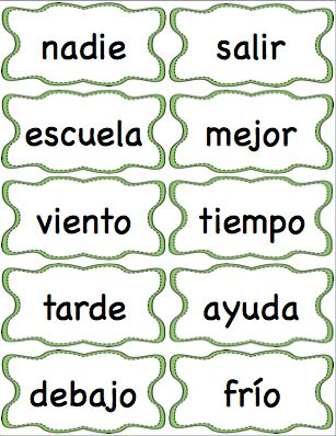 Spanish High Frequency Word Cards