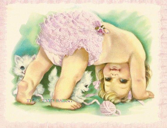 Stoff-Blöcke, Baby mit Rüschen Hose, zwei 5 x 7-Stoff-Bausteinen für Sie