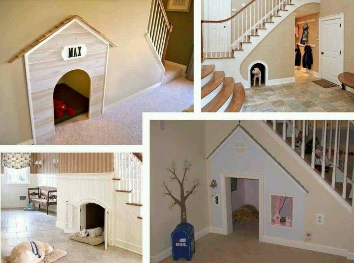 Indoor dog houses... Great use for wasted space under stairs!