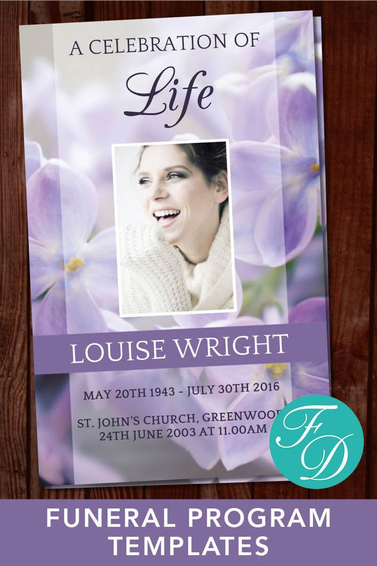 Best Floral Funeral Program Templates Images On