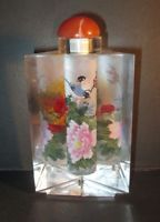 "Collectible Perfume Bottle Triangle Design Beveled Glass Flowers & Birds 5""T"