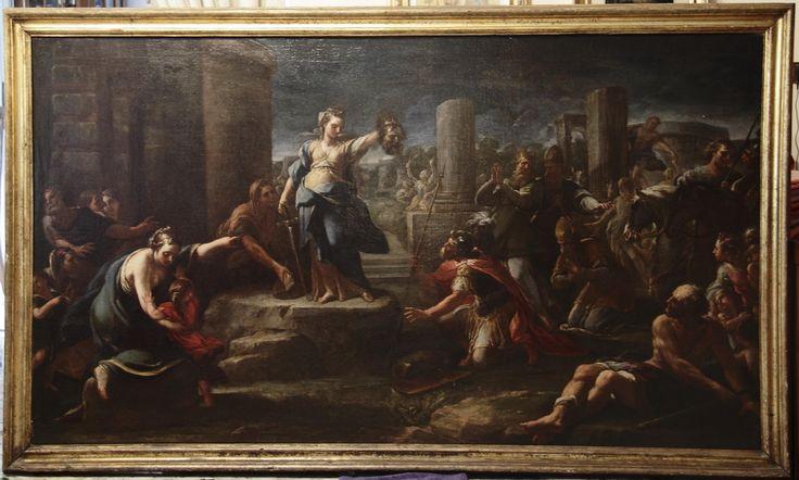 Giuditta con la testa di Oloferne diCorrado Giaquinto (Molfetta, 8 febbraio 1703 – Napoli, 1766), perizie di Volpe e Sestieri, olio su tela, cm. 118×209; Galleria Ship In – Navigare Nell'Arte, Lecce.