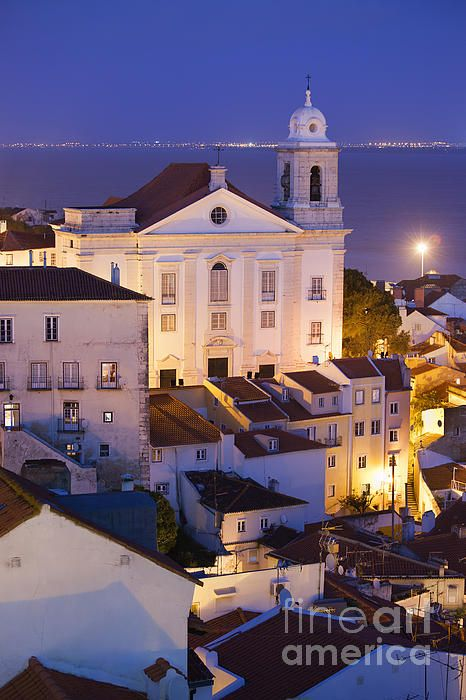 Santo Estevao Church at night in old city of Lisbon in Portugal, Tagus river in the background. #lisbon #lisboa #alfama #city #night #cityscape #church #portugal #urban #urbanphotography #santoestevao #houses #historicalplace