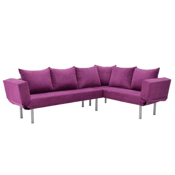 Γωνιακός καναπές Seul Corner με ύφασμα μωβ 233x170x85