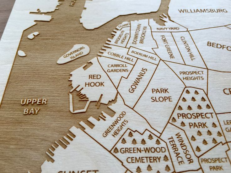 This engraved map shows the neighborhoods of Brooklyn, New York.