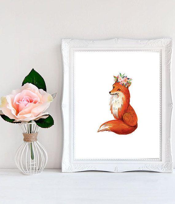 Floral+fox+Fox+decorations+Fox+floral+crown+by+WordsAndConfetti
