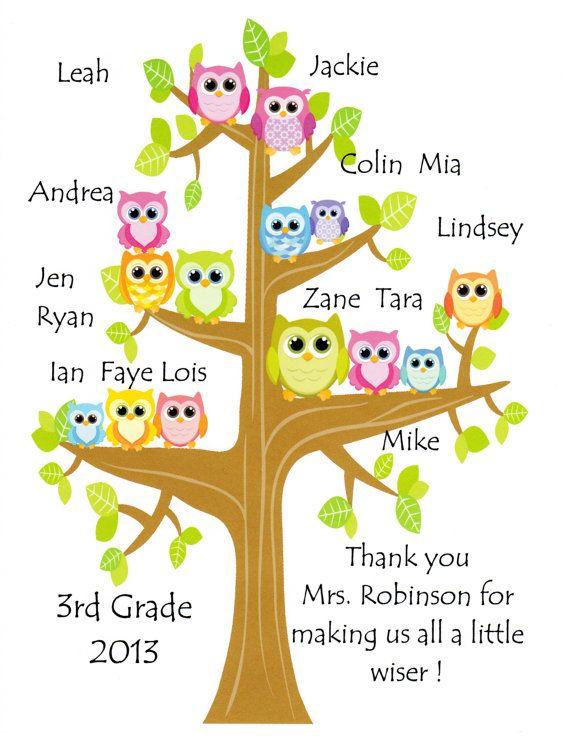 Teacher Gift, Classroom Art, Personalized, Owl, Tree, Team Coach, Appreciation Gift, Owl, 8x10 Print