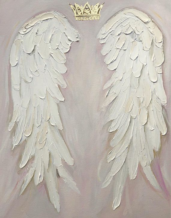 Angel Wings Painting , shabby Chic, gold crown, nursery decor, hand painted angel wings custom paint