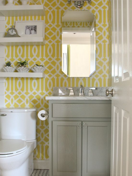 yellow gray and white bathroom