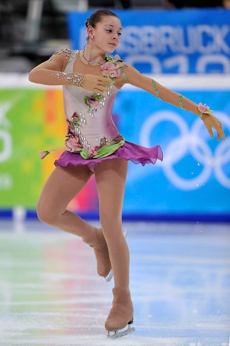 Adelina Sotnikova , love the big chunky stones -Pink Figure Skating / Ice Skating dress inspiration for Sk8 Gr8 Designs.
