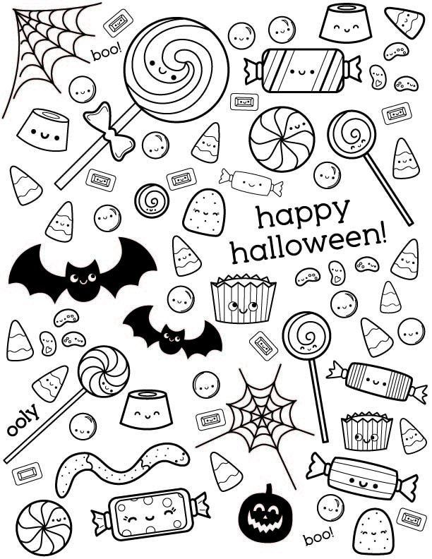 21 Cute Halloween Coloring Pages For Kids In 2020 Halloween Coloring Pages Halloween Coloring Candy Coloring Pages