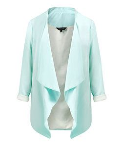 Mint Green (Green) Mint Green Waterfall Longline Blazer  | 314612237 | New Look
