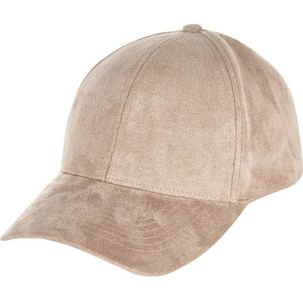 River Island Light brown faux-suede cap ($36) ❤ liked on Polyvore featuring accessories, hats, brown, women, brown cap, river island, brown hat, river island hat and caps hats