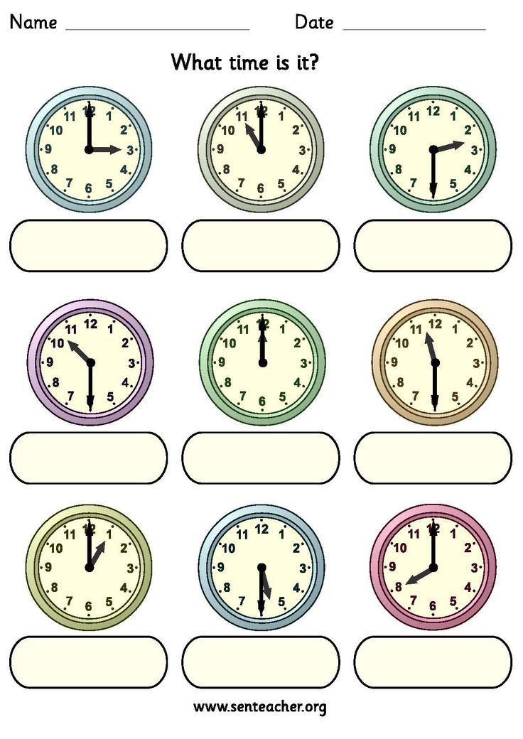 showing o clock or half past times with space to write in the answer ...