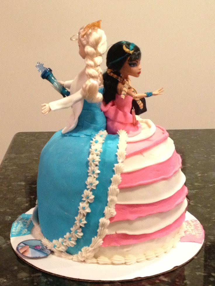 Elsa Doll Cake Decoration : Mash-up doll cake using monster high and elsa from frozen ...