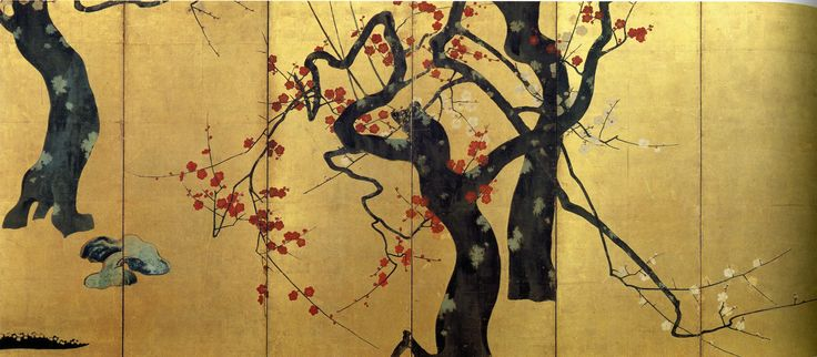 """Red and White Plum Trees,"" Ogata Korin (1658-1716), Edo period, 17th century (Japan)"