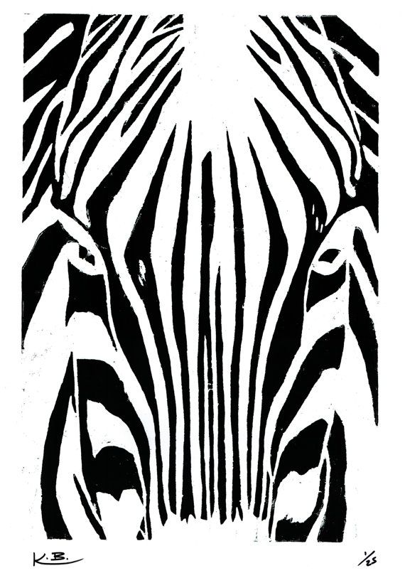 Zebra Woodcut Print by Kelly Blake. Limited Edition of 25, Signed by Artist.