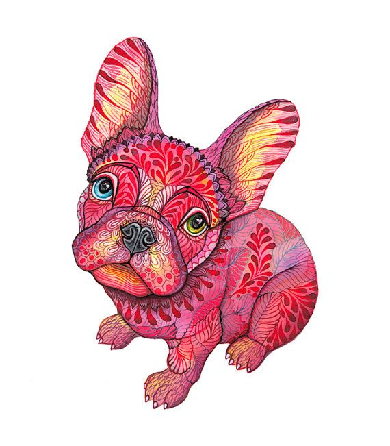 French bulldog animal art print // SALE 3 for 2 // Raspberry Frenchie dog, size 8x10, (No. 55)