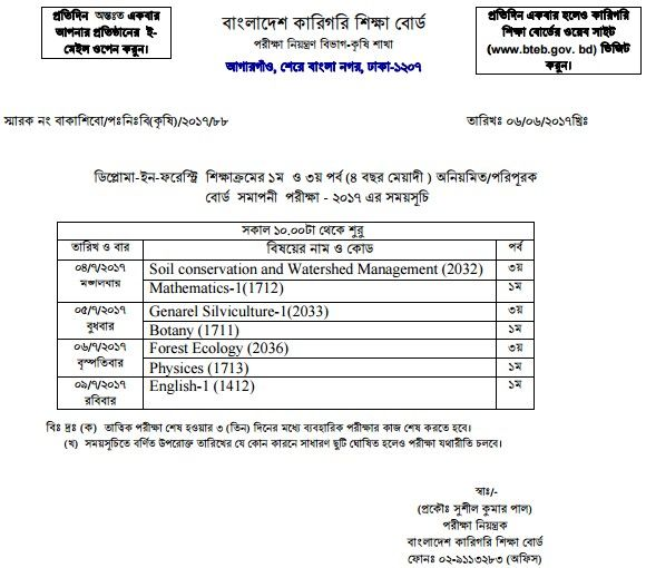 Diploma In Forestry Exam Routine 2019 | Places to Visit