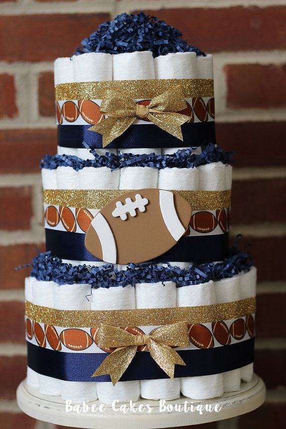 3 Tier Football Diaper Cake Boys Football by BabeeCakesBoutique