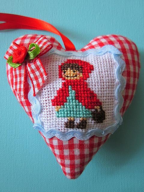 cross stitch + gingham = cute