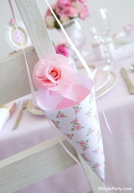 Conos de papel imprimibles para el confetti de tu boda