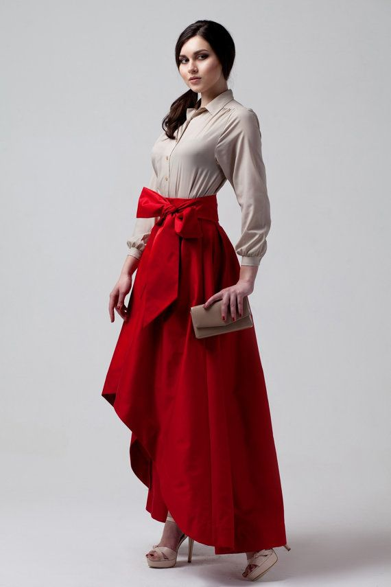 Assymetrical Chic Red Maxi Skirt.With Bowknot Evening by Dioriss