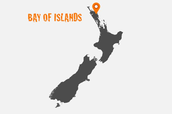 """Map Of Bay Of Islands, North Island New Zealand The only way to truly appreciate what the """"Bay of Islands"""" has to offer is by hiring a sea kayak, joining a daily cruise or chartering a yacht and setting sail into this maritime adventure playground."""