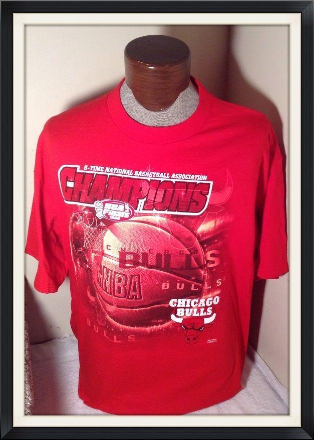 EUC+ VINTAGE XL1998 Chicago BULLS 6X Championship TShirt XL OFFICIAL NBA RARE #NBA #ChicagoBulls