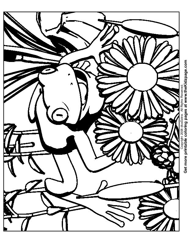 Frog and Flowers Free Coloring Pages for Kids - Printable Colouring Sheets