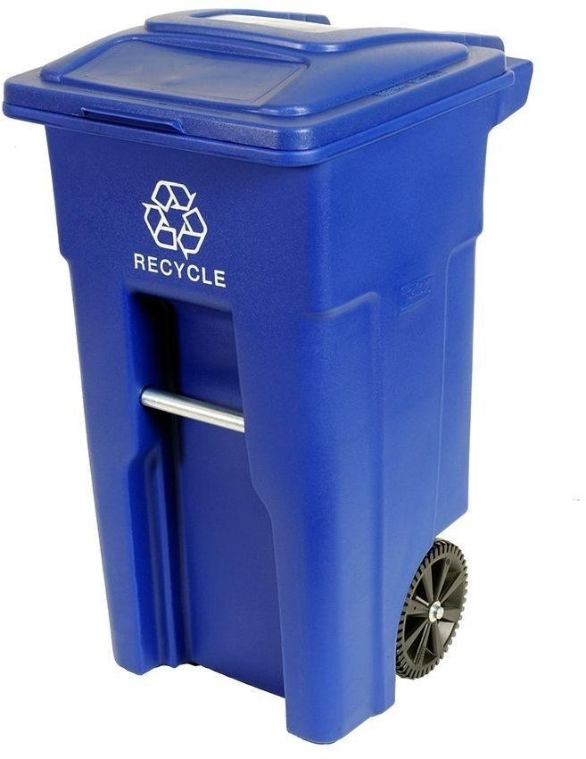 toter residential 32 gal blue heavy duty rolling recycle trash garbage cart can recycle bins. Black Bedroom Furniture Sets. Home Design Ideas