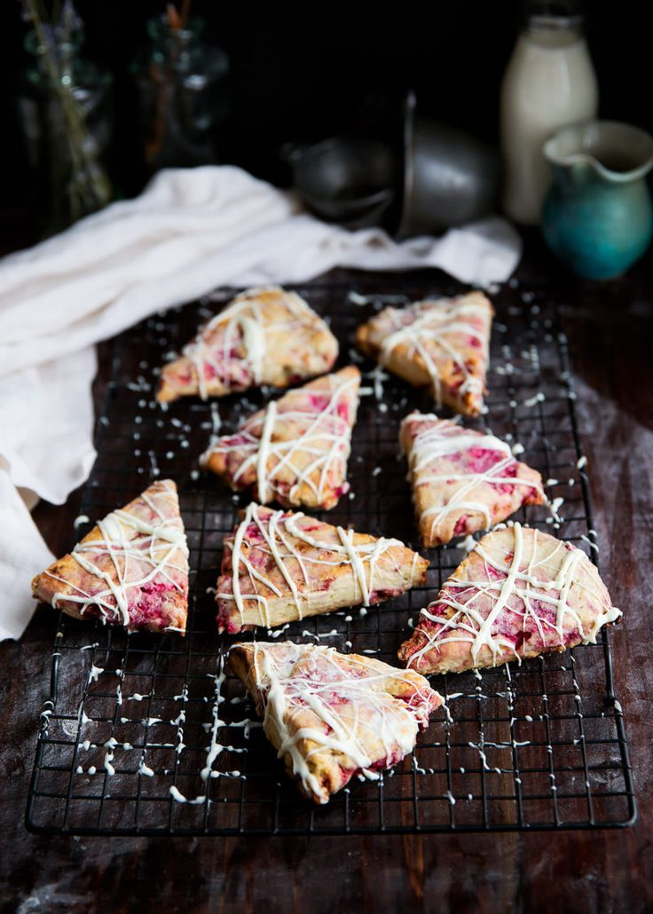 White Chocolate Raspberry Rhubarb Scones - Broma Bakery