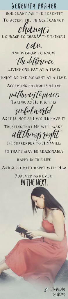 Printable of the serenity prayer is available at Inkblots of Hope. | Full Serenity Prayer | Prayer | AA | NA | Faith | Christian Blogs